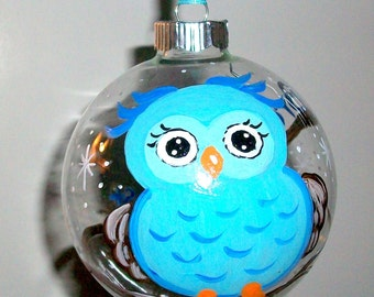 Baby's First Christmas Glass Ornament Hand Painted 4 inch Glass Ball Baubles Boy Baby Owl Blue Personalized Name Date Weight Time