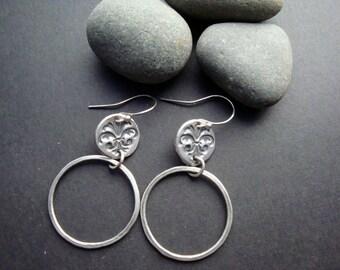 PMC Stamped Fine Silver Hoop Earrings