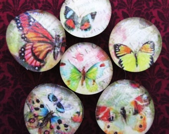 GLASS BUTTERFLY Magnets OOAK Super Strong