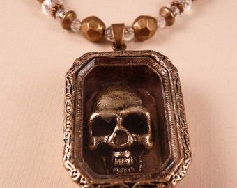 Skull Necklace Brass Necklace Skull Jewelry Brass Jewelry Beaded Necklace Beaded Jewelry Goth Jewelry Crystal Jewelry