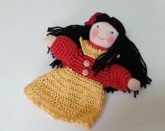Girl Hand Puppet, Crochet Hand Puppet, Red Yellow Black, OOAK