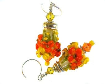 Bright Color Lampwork Earrings, Floral Glass Bead Earrings, Glass Bead Jewelry, Orange Flower Cone Earrings, Lampwork Jewelry