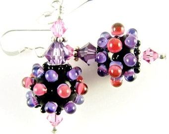 Purple Glass Bead Earrings, Fuchsia Lampwork Earrings, Beadwork Earrings, Lampwork Jewelry, Bumpy Pink Beaded Earrings