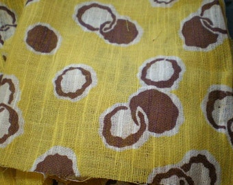 Vintage Mid Century Fabric Remnants - Yellow With Brown Dots