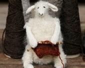 Knitted sheep - white ewe - knitter's companion
