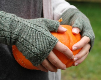 Simplicity Mitts - women's fingerless mittens with micro cables - woodland green