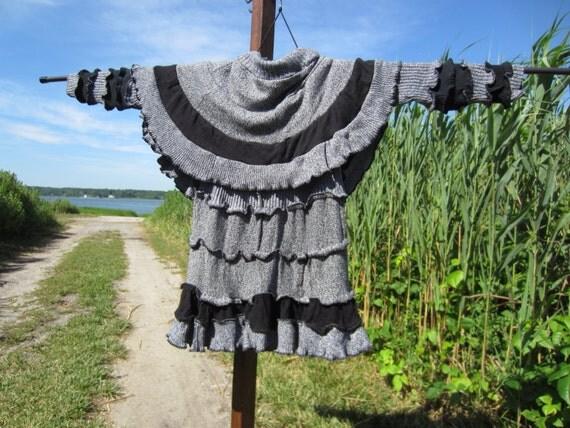 Bohemian Gypsy Shrug Sweater Cape, Black & White Small Cotton Jacket Upcycled Clothing
