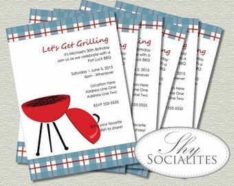 Blue Plaid BBQ Printable Invitations