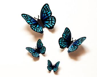 3D wall butterflies: teal gradient butterfly wall art for nursery, dorm, whimsical home decor