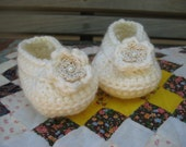 Ivory Colored Crocheted Baby Booties