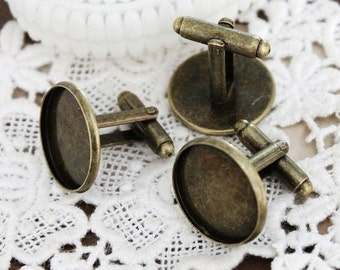10PCS vintage Antiqued Bronze brass round  Cuff Links sleeve button cuff link tray blank setting With 18 mm (CUL-6)