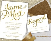 Gold Modern Glam Shimmer & Shine Invitation Set by Luckyladypaper - CUSTOM CARD ORDER