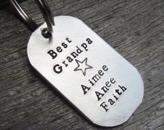 Key Chain Custom Best Grandpa Dog Tag Keychain Hand Stamped Silver Aluminum Key Ring Kids Names Added