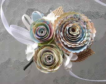 Atlas spiral vintage map rose boutonniere buttonhole or corsage for wedding made with recycled maps