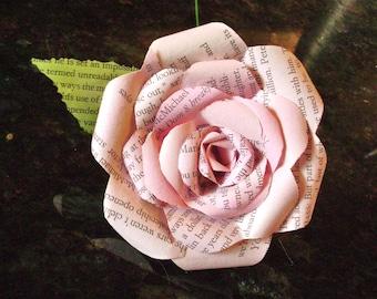 vintage book page paper rose pastel pink long stemmed recycled