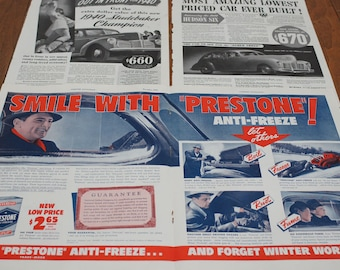Automobile Advertising Vintage Lot of 3 Plus a Bonus Man Cave Decor