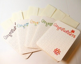 Congratulations Cards- Embossed- Linen Lined- 5 Cards- Boxed Set- Handmade