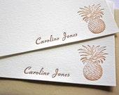 Personalized Letterpress Stationery Pineapple Aloha
