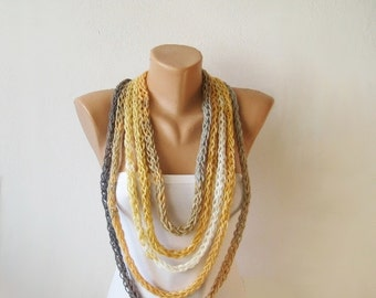 Endless Rope Scarf Long / Knit Cord Loop Necklace / Infinity Thick Loop Scarf / Earth colors Neckwarmer / Christmas Gift / Women Accessory