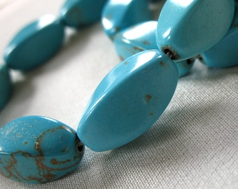 Turquoise Blue Magnesite Stone twisted Oval beads with Brown Veining, 18mm x 10mm, full strand, 15""