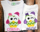 Personalized Embroidered Shirt or Bodysuit with Christmas Santa Owl