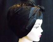 Fancy Black Satin and Chiffon Striped Rockabilly 50's Style Hair n' Neck Chiffon Scarf