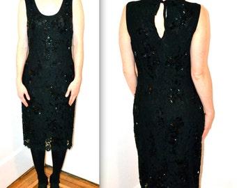 Vintage Prada Dress size Medium/Large// Vintage Black Lace and Beaded Dress by Prada