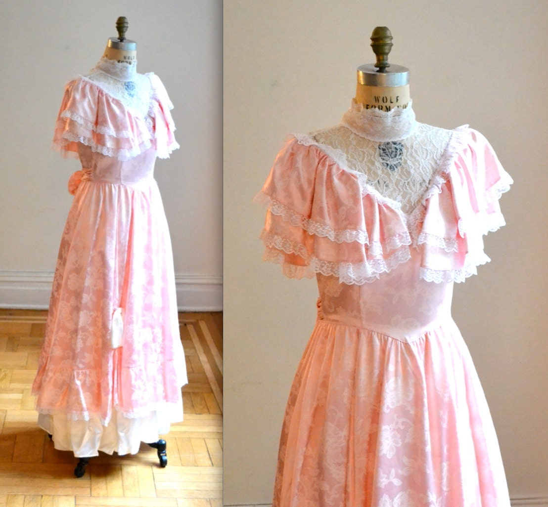 Vintage Wedding Dresses 80s: Vintage 80s Prom Dress In Pink Size Small/Medium By Gunne Sax