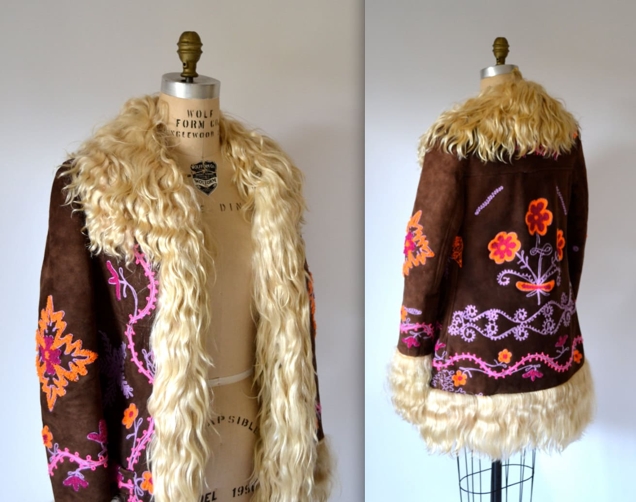 Vintage Embroidered Shearling Jacket Size Small Vintage 70s