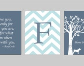 Home Sweet Home Love Bird Family Tree w/ Dog Silhouette, Roy Croft Quote and Chevron Monogram Print  (You choose colors) - Three 11x14s