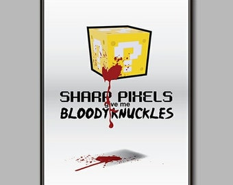 Bloody Knuckles: A Question Block Parody Print // 11X14 Nintendo and Super Mario Parody Poster