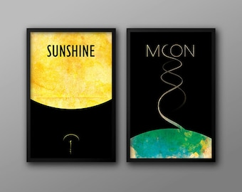 Sunshine and Moon // Two Retro Style Science Fiction Movie Posters with Minimalist Astronomic Illustrations