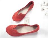 Geranium Red Soft Suede Handmade Oxfords Shoes