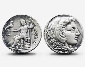 Sterling Silver Alexander Coin Cufflinks