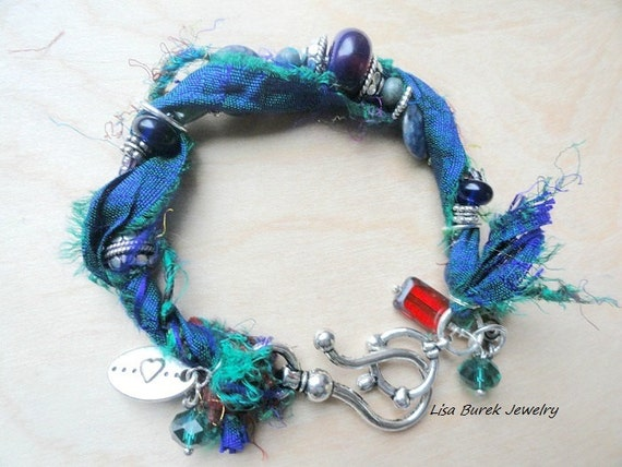 Blue Sari silk ribbon bracelet - Lisa Burek Jewelry