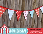 Vintage Carnival Fabric Pennant Bunting Banner - party decor, nursery, playroom, photo prop