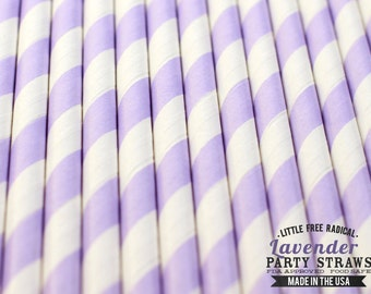 LAVENDER Striped Eco-friendly Paper Party Straws & Digital Flags - - -  Made in the USA - - - FDA approved - - - Ships within 1 Business Da