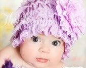 SALE Baby Lace hat bonnet, newborn infant baby girl lace hat bonnet, baby bonnet, Lavender lace hat  M2M petti lace romper in our shop.