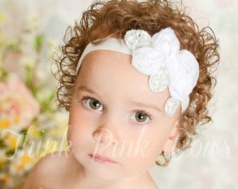 White Baby Headband, Baby headbands, Christening Headband, Baptism Headband,Newborn Headband, Baby girl Headband, Flower Headband,Hair Bow.