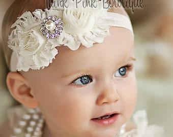 Baby Headband, Headband ,Baby girl Headband,Newborn Headband,Christening Headband,Shabby Chic Headband, Baptism Headband, Baby Headbands. 2