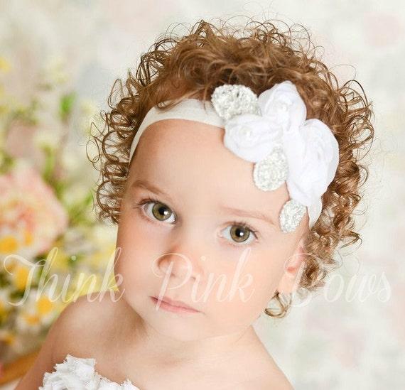 White Baby Headband Baby Headbands Christening Headband