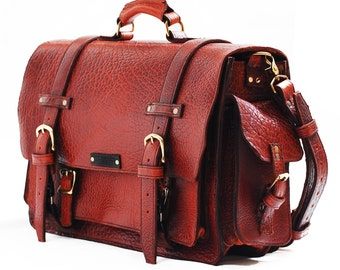 handmade leather briefcase made in usa items similar to leather bag unisex american buffalo 2587