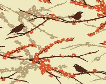 Joel Dewberry AVIARY 2 - Sparrows in Bark JD41 - Free Spirit Fabric - 1 Yard