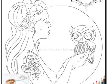 A Word to the Wise - Owl Art- Digi / Printable Download PDF Coloring Page - Concetta Kilmer