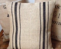 Vintage French Style Black Striped Burlap Pillow Cover/Grain Sack Pillow by sweet janes plan