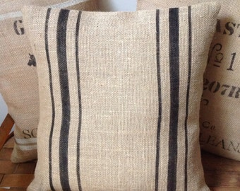 Vintage French Burlap Pillow Cover/Black Striped Grain Sack Pillow by sweet janes plan