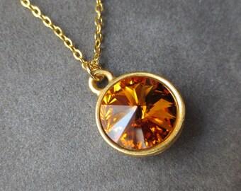 Gold Topaz Necklace, November Birthstone Jewelry, Crystal Pendant, Modern Everyday Jewelry, Birthstone Necklace