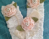 Baby Girls Ivory Legwarmers and Headband with Peach Flower, Pearls and Crystals. Great for Sping and Dress Up Dates, Tea Party, Photo Props