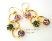 Mardis Gras Earrings - beaded beads by Sharri Moroshok - purple green gold