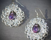 Purple Earrings Fine Silver Crochet Lace Oval Cable Handmade Chain Unique winter summer wedding accessories amethyst